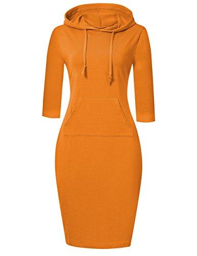 MISSKY Women Pullover Stripe Pocket 3 4 Long Sleeve Slim Sweatshirt Causal Hoodie Dress (XL, Orange)