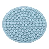 UINKE Round Honeycomb Silicone Pot Holder Heat Resistant Hot Pads Trivets Spoon Rest Multipurpose Kitchen Tool,Blue