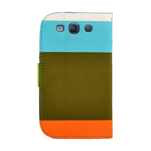 BlastCase Wallet PU Leather Holder Flip Case for Samsung Galaxy S3 - Retail Packaging Blue/Brown/Orange