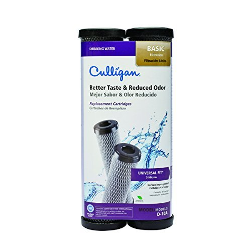 Culligan D-10A Level 1 Drinking Water Replacement Cartridge Carbon-Impregnated Cellulose 2 pack Size: 9.75 H x 2.5 W x 2.5 D Model: D-10A (Hardware & Tools - Cartridge Carbon Impregnated