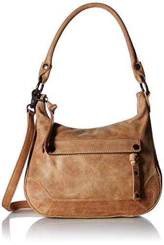 FRYE Melissa Zip Small Leather Hobo Crossbody, beige