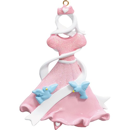 Personalized Princess Dress Christmas Tree Ornament 2019 - Beautiful Glitter Sparkle Costume Ribbon Birds Cute Fairy-Tale Treasure Kid Pixie Toy Doll Magic Royal Skirt Gift - Free Customization ()