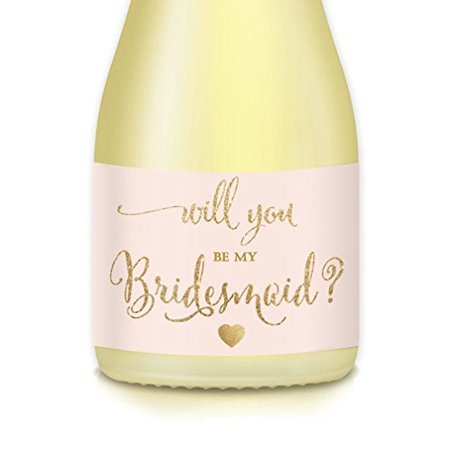 Wedding Party Mini Champagne Bottle Labels, Set of 10 Bridal Proposal Bride Ask Family Best Friend Will You Be My Bridesmaid, Maid Matron of Honor? Gift Bag Label, Mini Wine Bottle Blush Gold Sticker]()