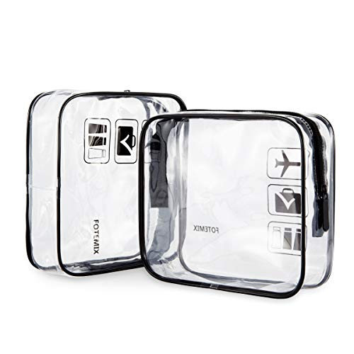 2pcs Clear Toiletry Bag Travel Toiletry Bag Waterproof Plastic Bag with Handle Straps Zipper Pouch for Women, Men, Kids Carry On Makeup Bags Black