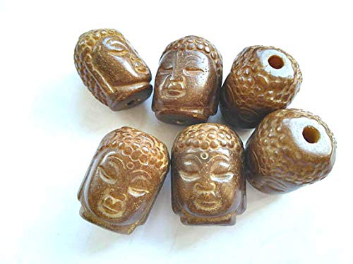 - 2pcs 1825mm Handmade Old Ancient Jade Gemstone Pendant,Buddha Carved Coffee Jewelry Beads