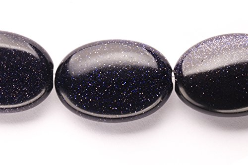 Flat Blue Goldstone Oval Beads Semi Precious Gemstones Size: 25x18mm Crystal Energy Stone Healing Power for Jewelry Making