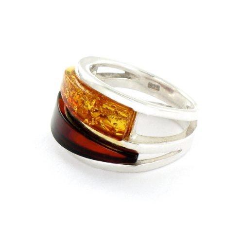 Tous mes bijoux - BABA01022 - Bague Femme - Double Jonc - Argent 925/1000 7.1 gr - Ambre