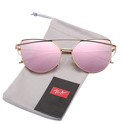 Pro Acme Fashion Metal Frame Cat Eye Sunglasses for Women Mirrored Flat Lens (Baby Pink Mirrored Lens - Simple - Sunglasses Chic