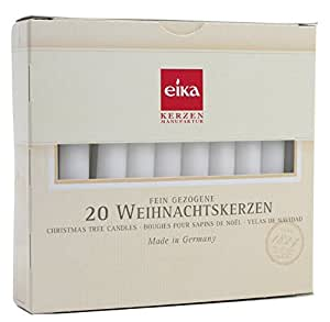Eika 20 Pieces Christmas Tree Candle Set Made in Germany High 10.5 centimeters White