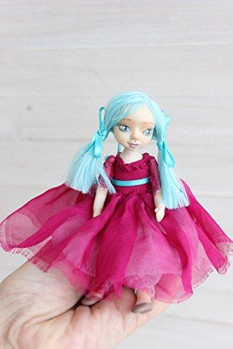 Art clay doll, doll with blue hair, OOAK Art Doll, clay doll, Polymer clay doll, Collecting doll, sculpted clay doll, miniature doll