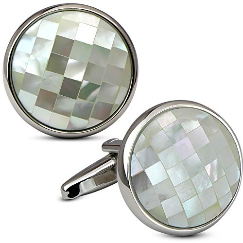VIILOCK Round White Gold Plated Chequer Mosaic Mother of Pearl Cufflinks Set with Gift Bag