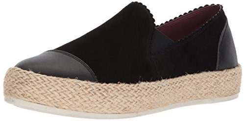 Skechers Women's VAPORIZE - Catalan - Scalloped Colar Twin-Gore Jute Wrapped Slip-On Sneaker, Black, 10 M US