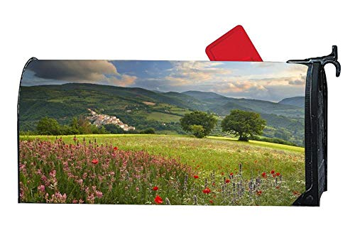 Poppies in The Meadow Magnetic Mailbox Cover, Mailbox Wrap Letter Post Box Cover Decor,Standard 6.5