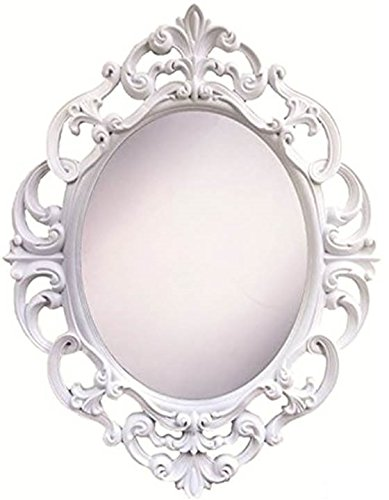 Angel's Treasure 15 Inch Oval Wall Mounted Mirror, Elegant Vintage Antique Style in Classic White