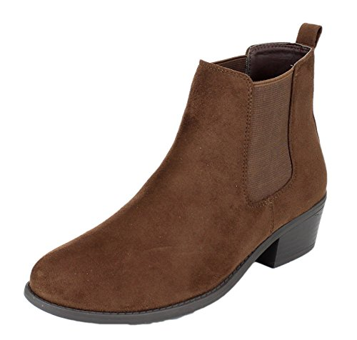 REFRESH Women's Tildon-03 Low Heel Slip-on Solid Ankle Boot (Brown