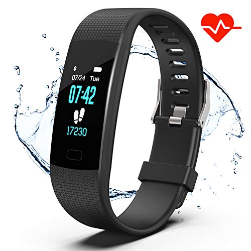 er HR, Activity Tracker Watch with Heart Rate Monitor, IP67 Waterproof Pedometer. Sleep Monitor, Step Counter, Calories Counter for Women, Men, Kids (Black) ()