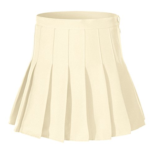 Beautifulfashionlife Girls Solid Pleated Mini Single School Tennis Skirts (L,Khaki Brown)