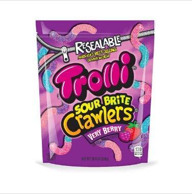 (Trolli Sour Brite Crawlers Gummy Candy, Very Berry, 14 oz)