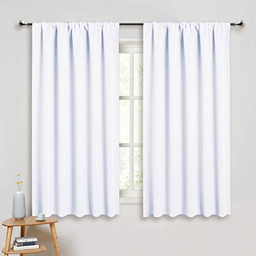 (PONY DANCE Curtains 45 inch Length - Window Drapes Double Panels Home Decor Rod Pocket Curtain Draperies for Kitchen & Bedroom Privacy Protect Semi-Blackout, 52 by 45 inch, Pure White, 2 Pieces)