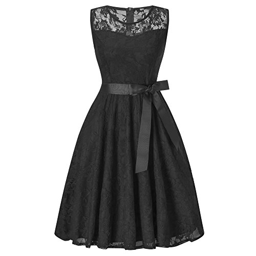 HENCY Women's Sleeveless Vintage Tea Dress Floral Lace A Line Pleated Cocktail Party Dress With Belt