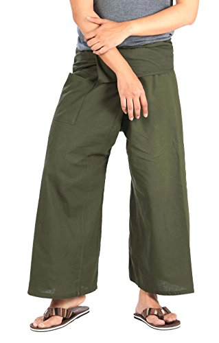 CandyHusky Extra Long Fisherman Pants Casual Tai Chi Yoga Pants Cotton Plus Size (Dark Olive Green)