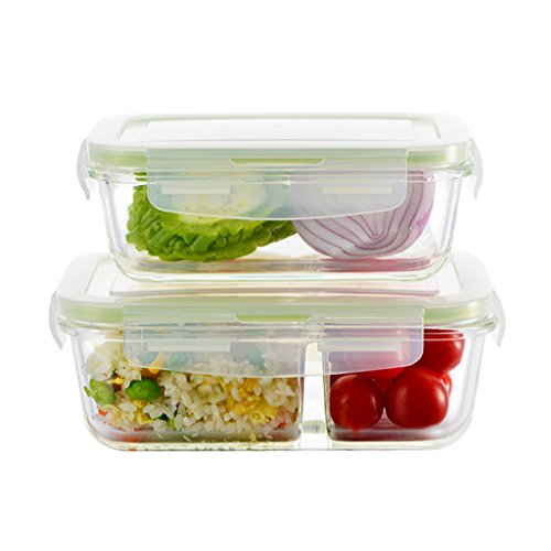Sealed Crisper (TYCGY Sealed Crisper, Sub-grid Glass Meal Boxes, Microwave Heat-resistant Glass Bowl (Two). 540ml + 800ml ( Color : Green ))