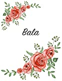 Bala: Personalized Notebook with Flowers and First