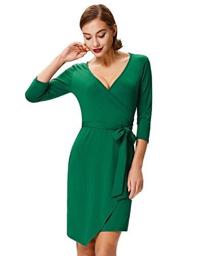 Grace Karin Ladies Fashion Asymmetric Wrap Shift Dress Self-Tie Belt XXL Green (Wrap Tie Dress)