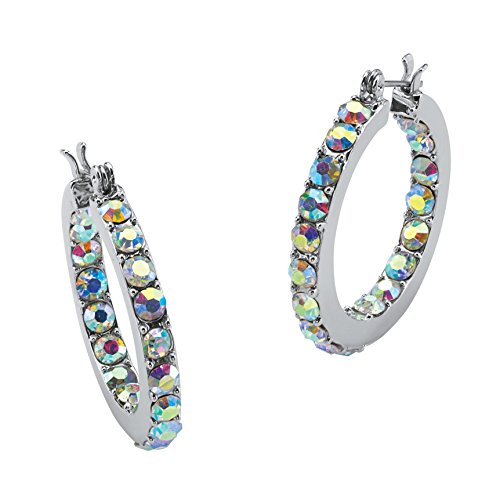 Silver Tone Inside Out Hoop Earrings (30mm) Round Aurora Borealis Crystal