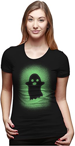 Crazy Dog T-Shirts Womens Glowing Ghost T Shirt Glow In The Dark Cool Halloween Party Tee (Black) 3XL Halloween Ghost Dog T-shirt