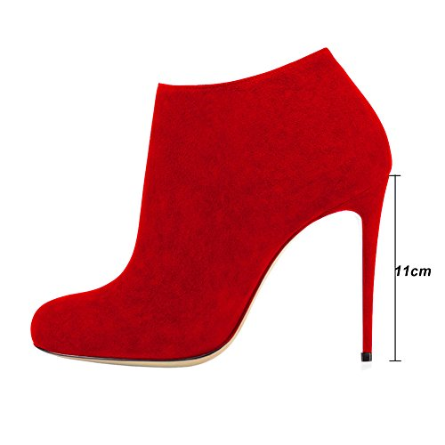 Boots Booties Women's High Dress Classic Toe VOCOSI Red Heels Ankle 021 Round Stilettos xvInCqw