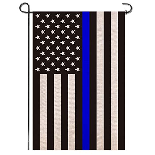 Shmbada USA Thin Blue Line Burlap Garden Flag - Black White and Blue Stripe American Police Flag Honoring Law Enforcement Officers - Premium Double Sided Outdoor Yard Lawn Small Decor - 12 x18 Inch (Garden And Blue White)