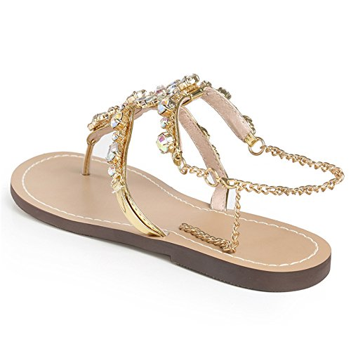 ANDAY Women Summer Sandals Shiny Bling Crystal Rhinestone Flats Sandals Flip Flops Alloy Chain Strap Gold CDsJ8