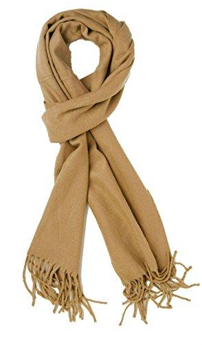 (Plum Feathers Super Soft Luxurious Cashmere Blend Winter Scarf (Camel))