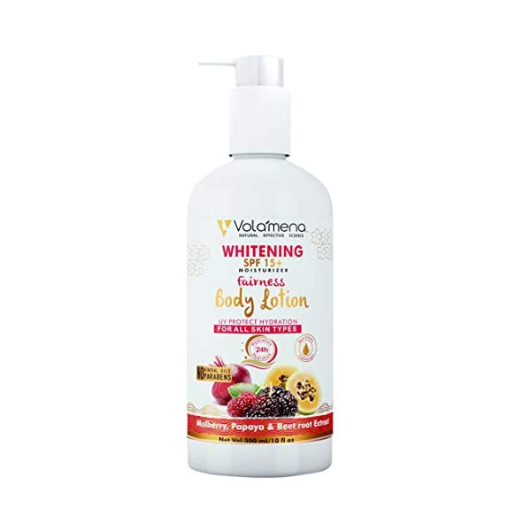 VOLAMENA WITH DEVICE Whitening SPF 15+ Fairness Body Lotion 300 ml, All Skin Type 2021 August This is the perfect summer lotion with SPF 15 for humid weather conditions+ Gets absorbed easily; doesn't have residue Moisturizes pretty good