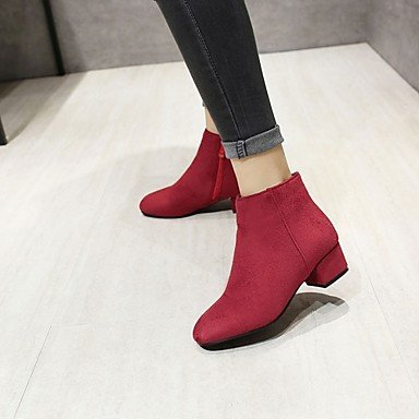 Women's Shoes Leatherette Fall Winter Fashion Boots Boots Chunky Heel Square Toe Booties/Ankle Boots Zipper For Casual Office & Career Grey iiVUHQtn