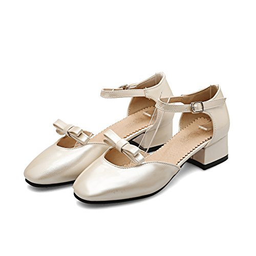 CXQ-Heels QIN&X Womens Block Quadratischen Kopf Flach Mund Schuhe Golden