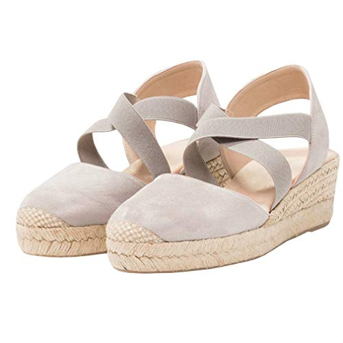 LAICIGO Womens Mary Jane Wedge Heeled Pumps Espadrille Closed Toe Ankle Strap Booties Comfort Walking Shoes