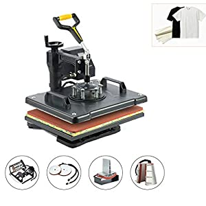 CO-Z 110V 12 X 15 inches 6 in 1 Heat Press 360 Degree Swivel Heat Press Machine Multifunction Sublimation Combo T Shirt Press Machine for Mug Hat Plate Cap Mouse Pad