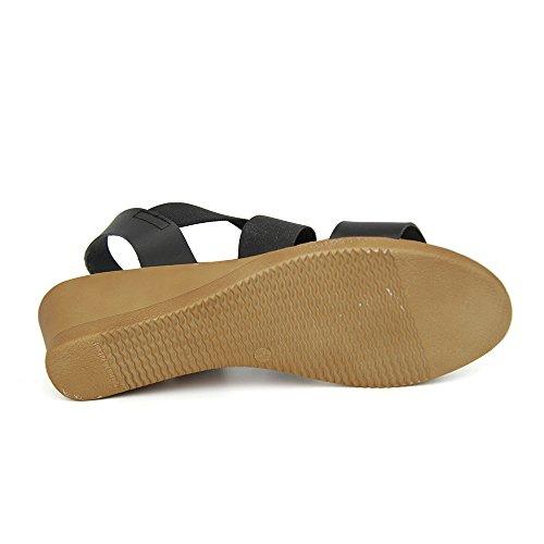 Sandalia Minicuña En Piel y Elastico Negro NEGRO