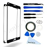 SAMSUNG GALAXY NOTE 4 N910 BLACK DISPLAY TOUCHSCREEN REPLACEMENT KIT 12 PIECES INCLUDING 1 REPLACEMENT FRONT GLASS FOR SAMSUNG GALAXY NOTE 4 N910 / 1 PAIR OF TWEEZERS / 1 ROLL OF 2MM ADHESIVE TAPE / 1 TOOL KIT / 1 MICROFIBER CLEANING CLOTH / WIRE