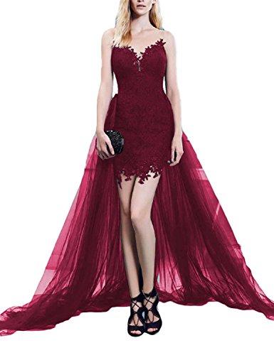 LMBRIDAL Women's Scoop Neck Lace Prom Dress Cocktail With Detachable Train Burgundy 4 Detachable Train