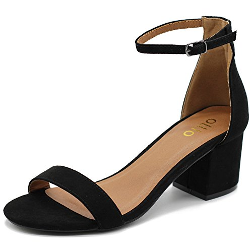 ux Suede Chunky Mid Heel Ankle Strap Heeled Sandals MG34 (10 B(M) US, Black) (Faux Suede Sandals)