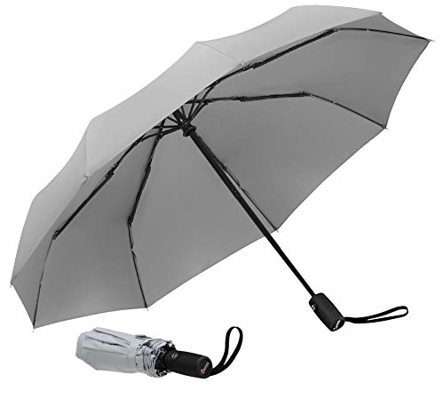 Repel Windproof Travel Umbrella with Teflon Coating (Gray)