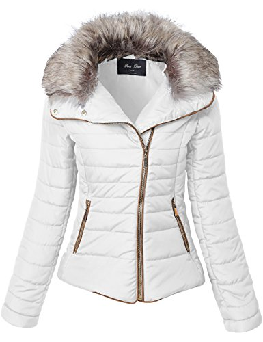 Winter Fur Collar Stripe Quilted Faux Padding Jackets, Off-White, M