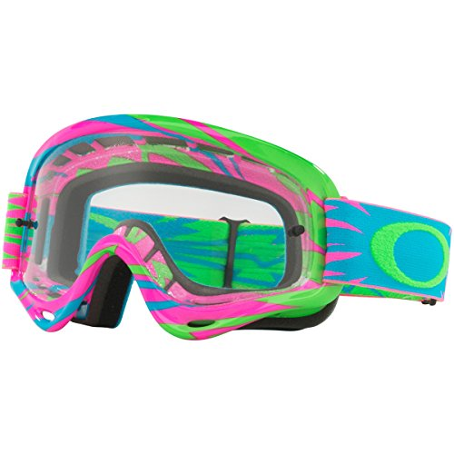 Oakley XS O Frm MX HighVoltagePink/Blue with Clear unisex-child Goggles (Pink, Small), 1 - Oakley Goggles Blue