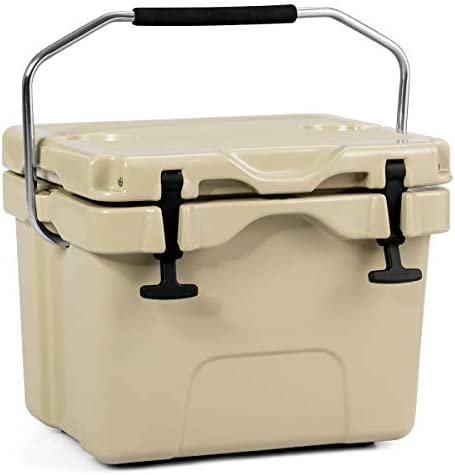 Goplus 16 Quart Cooler, Portable Insulated Ice Chest, 4-Day Ice Retention, 24-Can Capacity Camping Cooler Ice Box for BBQs, Tailgating and Outdoor Activities Khaki