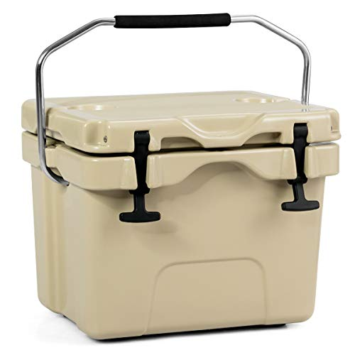 Goplus 16 Quart Cooler, Portable Insulated Ice Chest, 4-Day Ice Retention, 24-Can Capacity Camping Cooler Ice Box for BBQs, Tailgating and Outdoor Activities (Khaki) (16 Quart Cooler)
