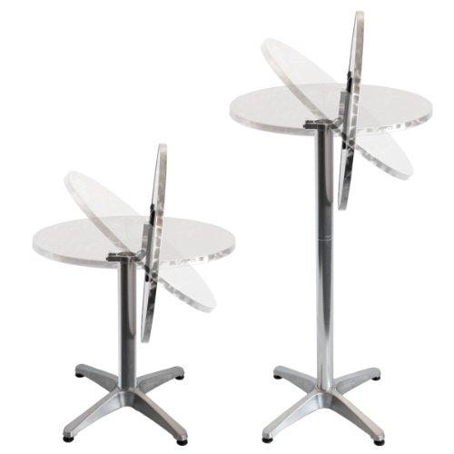 Torrex 30152 Bistrotisch / Stehtisch klappbar aus Aluminium mit Edelstahlplatte - Höhe 75cm oder 110cm, Ø 60cm