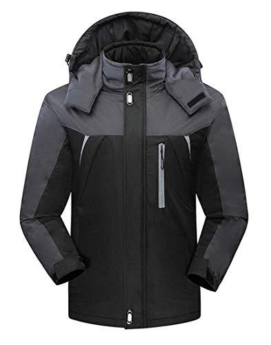 De À Occasionnels Kangqi Hommes Vestes D'hiver Capuchon Vêtements Pour Pluie Manteaux Black L'extérieur qAAHS